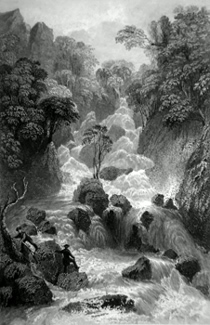 ANTIQUE PRINT: LOWDORE CATARACT, CUMBERLAND.