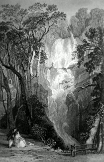 ANTIQUE PRINT: BARROW FALL, NEAR DERWENTWATER.
