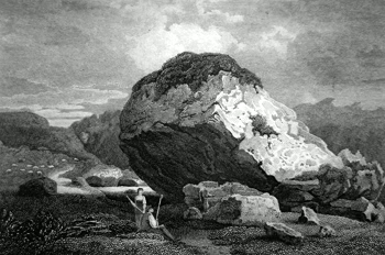 ANTIQUE PRINT: THE BOWDER STONE, CUMBERLAND.