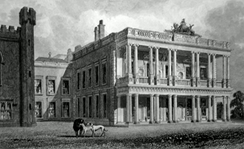 ANTIQUE PRINT: SOUTH FRONT OF KNOWSLEY HALL.