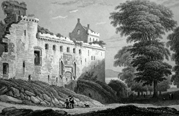 ALLOM 1838 old print Inner Court of the Palace of Linlithgow Scotland