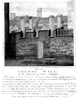 ANTIQUE PRINT: PART OF LONDON WALL. IN THE CHURCH YARD OF ST. GILES, CRIPPLEGATE.