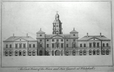 ANTIQUE PRINT: THE EAST FRONT OF THE HORSE AND FOOT GUARDS AT WHITEHALL.