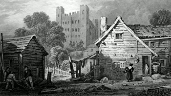 ANTIQUE PRINT: ROCHESTER CASTLE.