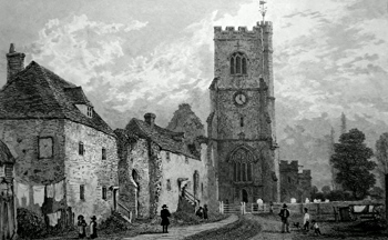 ANTIQUE PRINT: CHARING CHURCH AND THE REMAINS OF THE ARCHBISHOP'S PALACE. KENT.