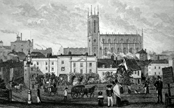 ANTIQUE PRINT: THE NEW CHURCH AT MARGATE. FROM AUSTIN'S ROW : KENT.