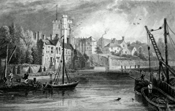 ANTIQUE PRINT: MAIDSTONE FROM THE WATER. KENT.