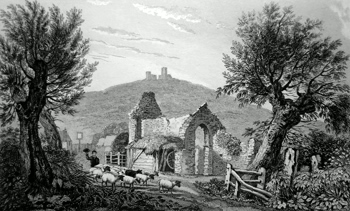 ANTIQUE PRINT: THE REMAINS OF AN ANCIENT CHAPEL OR NUNNERY, AT WEST HYTHE, KENT. LYMPNE CHURCH AND CASTLE IN THE DISTANCE.