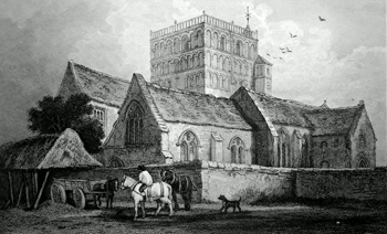 ANTIQUE PRINT: ST. CLEMENTS CHURCH, SANDWICH, KENT.