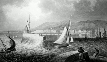 ANTIQUE PRINT: ENTRANCE TO SWANSEA HARBOUR, GLAMORGANSHIRE.