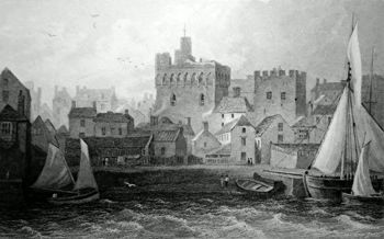 ANTIQUE PRINT: SWANSEA CASTLE, GLAMORGANSHIRE.