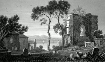 ANTIQUE PRINT: REMAINS OF ST. DOGMAEL'S PRIORY, PEMBROKESHIRE.
