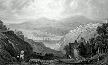 ANTIQUE PRINT: UPPER & LOWER TOWN OF FISHGUARD. PEMBROKESHIRE.