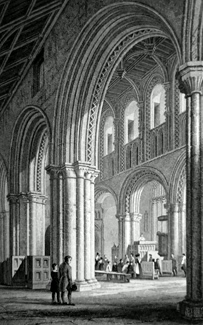 ANTIQUE PRINT: THE NAVE OF ST. DAVID'S CATHEDRAL. PEMBROKESHIRE.