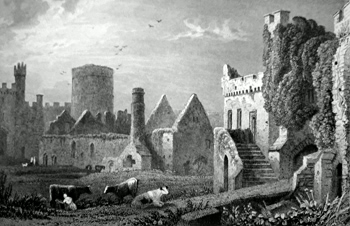 ANTIQUE PRINT: INNER COURT OF MANORBEER CASTLE, PEMBROKESHIRE.