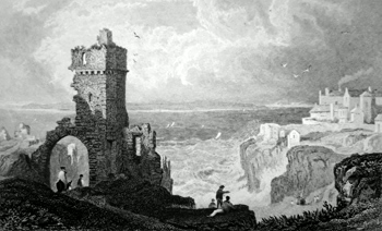 ANTIQUE PRINT: CALDY ISLAND, FROM TENBY CASTLE, PEMBROKESHIRE.