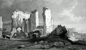ANTIQUE PRINT: REMAINS OF THE PRIORY, HAVERFORDWEST, PEMBROKESHIRE.