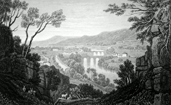 ANTIQUE PRINT: VALE OF THE TAFF, GLAMORGANSHIRE.