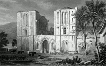 ANTIQUE PRINT: LLANTHONY ABBEY, WEST FRONT. MONMOUTHSHIRE.