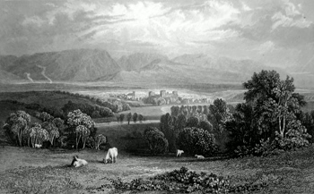 Antique print of Cockermouth, Cumbria