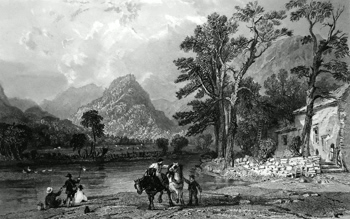 ANTIQUE PRINT: CASTLE CRAG, BORROWDALE, FROM THE VILLAGE OF GRANGE, CUMBERLAND.