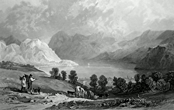 ANTIQUE PRINT: ENNERDALE WATER, FROM HOW HALL, CUMBERLAND.