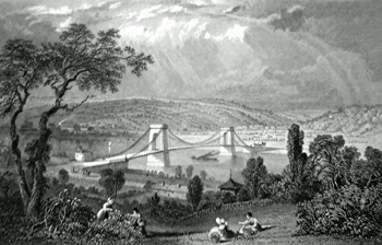 ANTIQUE PRINT: SCOTSWOOD BRIDGE, OVER THE TYNE.