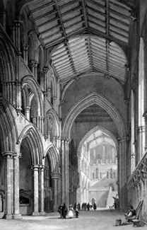 ANTIQUE PRINT: HEXHAM CHURCH, NORTHUMBERLAND.