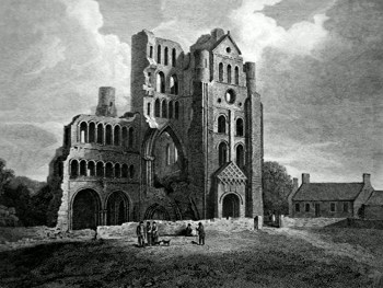ANTIQUE PRINT: REMAINS OF KELSO ABBEY CHURCH.