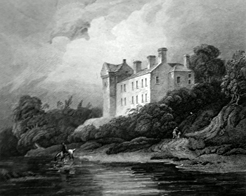 ANTIQUE PRINT: BRANXHOLM CASTLE, ROXBURGHSHIRE.