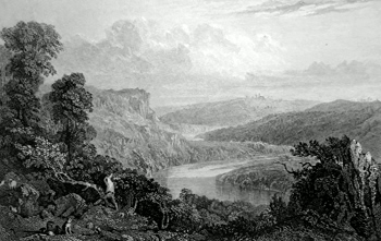 ANTIQUE PRINT: [CALSTOCK] THE RIVER TAMAR, FROM THE MORWELL ROCKS.