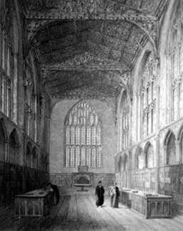 ANTIQUE PRINT: EXETER CATHEDRAL. THE CHAPTER ROOM.