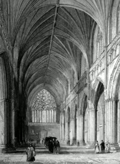 ANTIQUE PRINT: EXETER CATHEDRAL. THE NAVE LOOKING WEST.