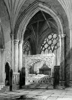 ANTIQUE PRINT: EXETER CATHEDRAL. BISHOP STAFFORD'S MONUMENT.