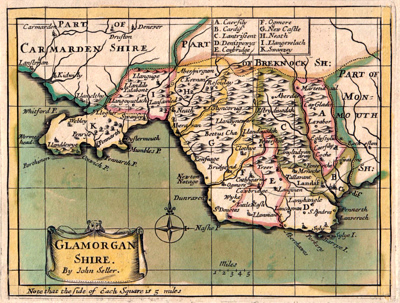 ANTIQUE MAP: GLAMORGAN SHIRE.