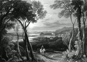ANTIQUE PRINT: THE CLYDE, WITH DUNBARTON CASTLE IN THE DISTANCE. (FROM THE HILL ABOVE OLD KILPATRICK.)