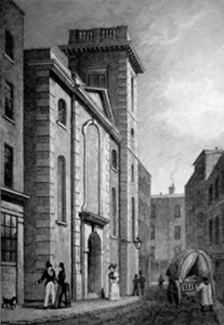 ANTIQUE PRINT: ST. CLEMENT'S CHURCH, CLEMENT'S LANE.