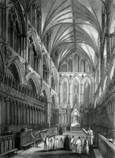 ANTIQUE PRINT: ELY CATHEDRAL. THE CHOIR.