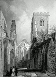 ANTIQUE PRINT: LLANDAFF CATHEDRAL. NAVE LOOKING WEST.