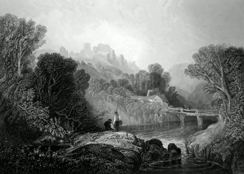 ANTIQUE PRINT: VIEW IN THE VALE OF LLANGOLLEN, CROW CASTLE IN THE DISTANCE.