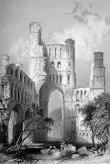 ANTIQUE PRINT: KELSO ABBEY. (ROXBURGHSHIRE.)