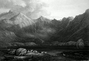 ANTIQUE PRINT: LLYN IDWAL.