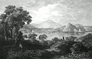 ANTIQUE PRINT: DUMBARTON CASTLE & TOWN, FROM THE SOUTH.