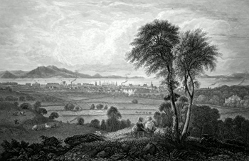 ANTIQUE PRINT: VIEW OF AYR, FROM CASTLE HILL.