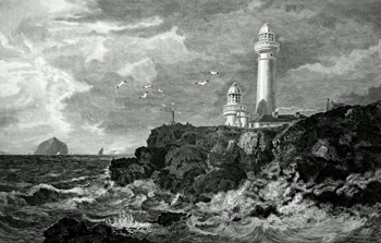 ANTIQUE PRINT: PLADDA LIGHT HOUSE. FROM THE EAST.