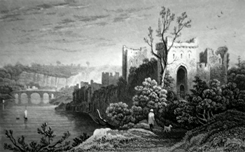 ANTIQUE PRINT: CHEPSTOW CASTLE, MONMOUTHSHIRE.