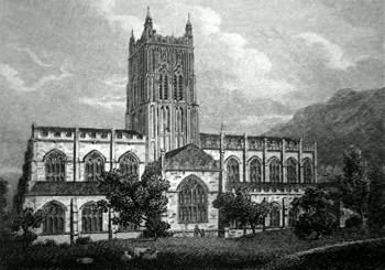 ANTIQUE PRINT: N. VIEW OF MALVERN ABBEY CHURCH, WORCESTERSHIRE.