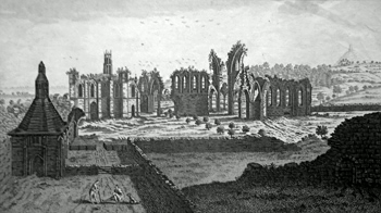 ANTIQUE PRINT: PROSPECT OF THE RUINS OF GLASTONBURY ABBY, IN SOMERSETSHIRE.