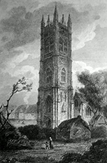 ANTIQUE PRINT: PROBUS TOWER, CORNWALL.