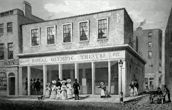 Antique print of the Olympic Theatre, Wych Street